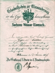 1867 / Einwanderungsschein von Hermann Geyer