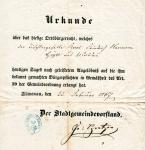 1867 / Urkunde ueber das Ortsbuergerrecht von Hermann Geyer