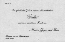 Geburtsanzeige von Walter Geyer