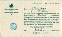 1909 / Meisterbrief von Alfred Geyer