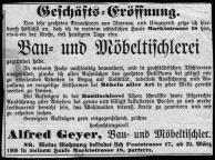 1909 / Zeitungsanzeige der Geschaeftseroeffnung