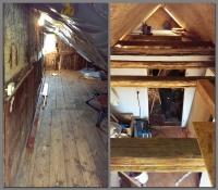 Dachgeschoss vor und während des Umbaus
