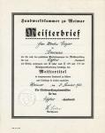 1936 / Meisterbrief von Martin Geyer