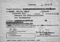 1979 - Gewerbeanmeldung (1) von Walter Geyer