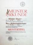 Meisterurkunde von Walter Geyer
