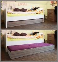 Jugendzimmer / Bett mit ausziehbarem Bettkasten